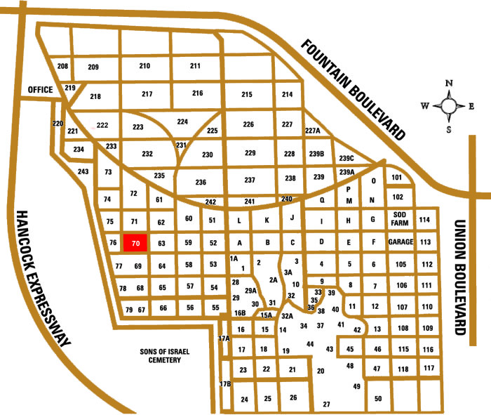 Map of Evergreen Cemetery