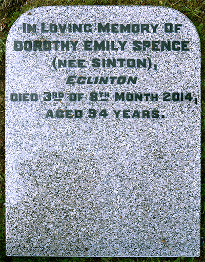 Headstone of Dorothy Emily Spence (née Sinton) 1920 - 2014