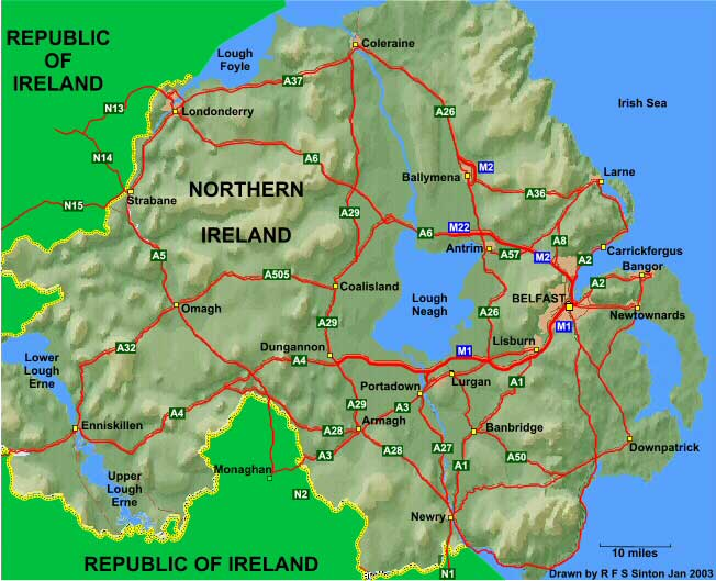 Map Of Ireland With Roads.Sinton Family Trees Map Northern Ireland Main Roads